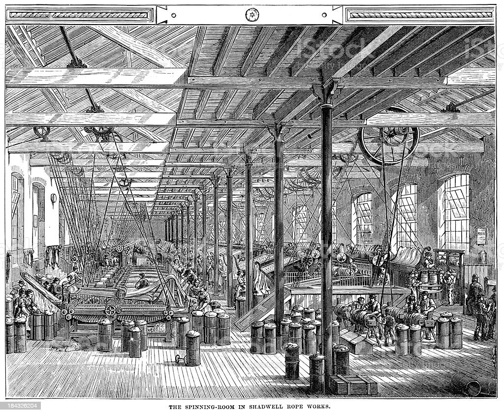 Spinning Room in Shadwell Rope Factory vector art illustration