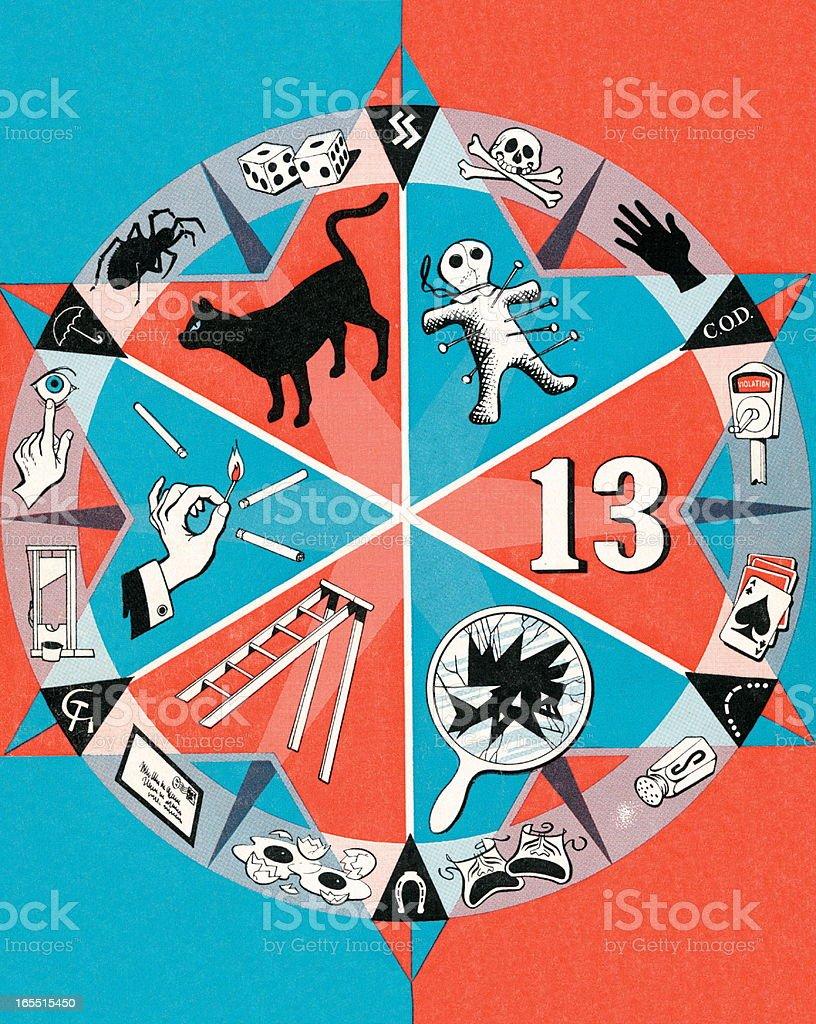 Spinning Wheel of Bad Luck vector art illustration