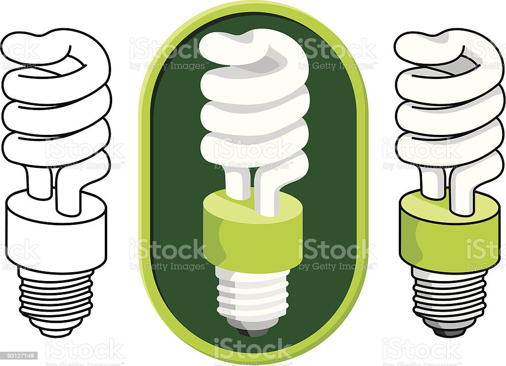 Spiral compact fluorescent light bulb royalty-free stock vector art