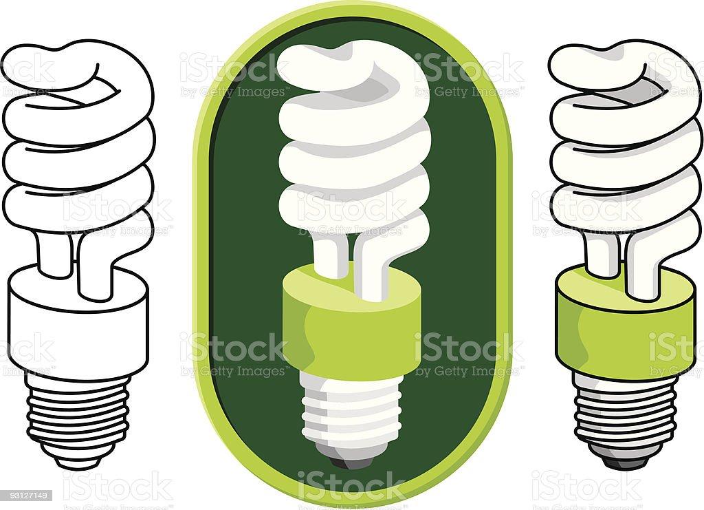 Spiral compact fluorescent light bulb vector art illustration