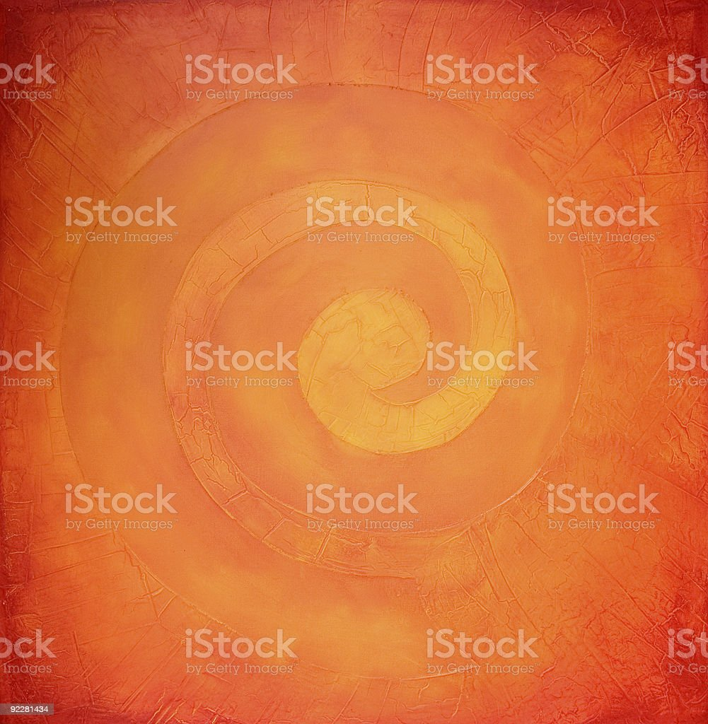 Spiral painting in warm colors royalty-free stock vector art