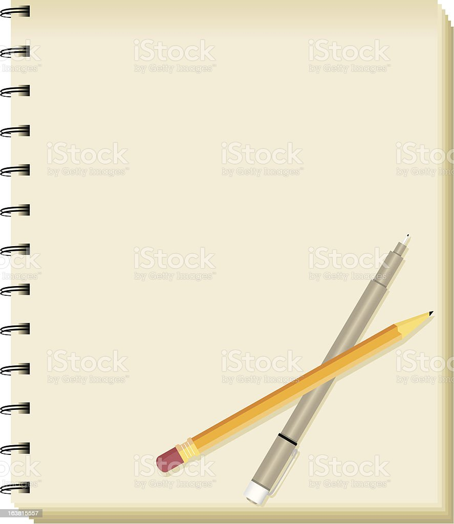 Spiral Sketchbook/Notepad with Pencil and Pen royalty-free stock vector art