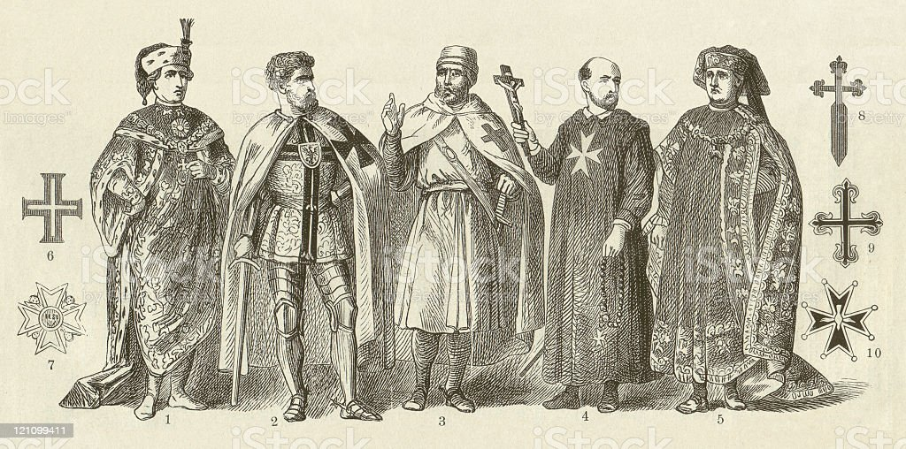 Spiritual order of knights in the Middle Ages, published 1881 vector art illustration