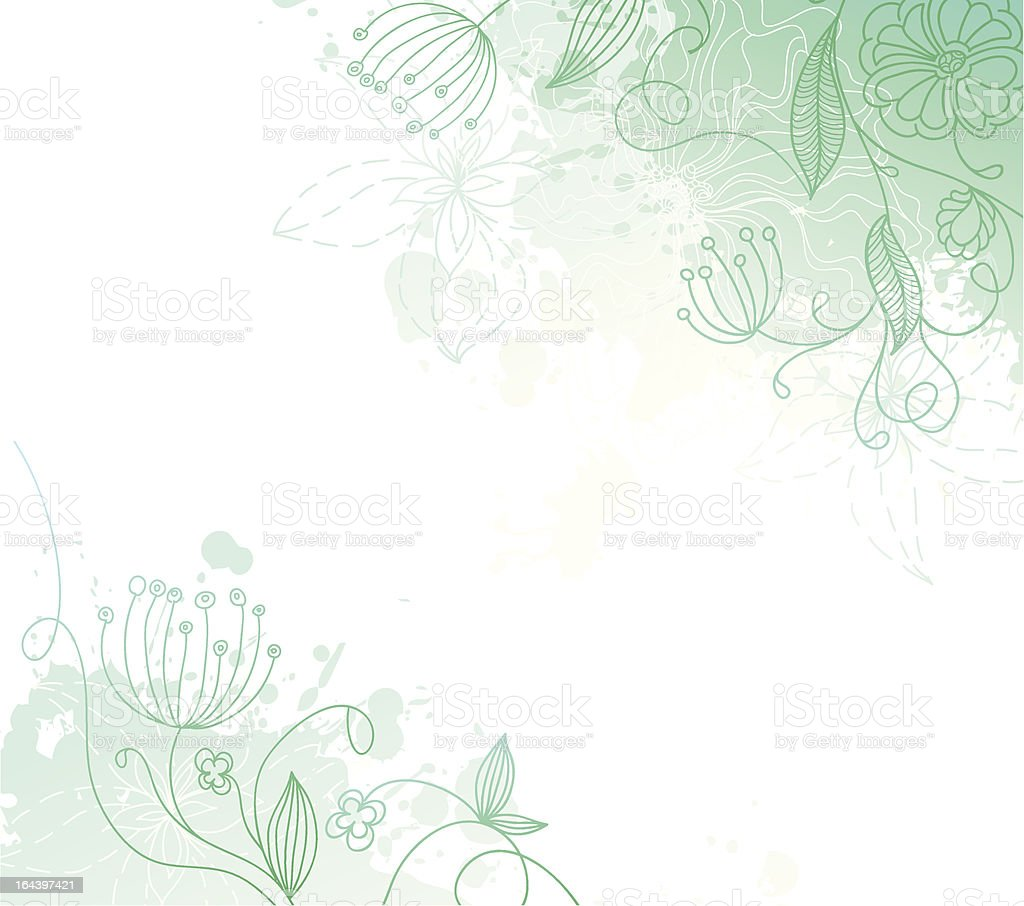 Splash back with floral elements royalty-free stock vector art