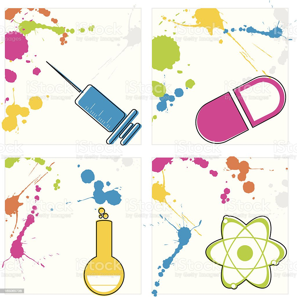 Splash Science Icons royalty-free stock vector art