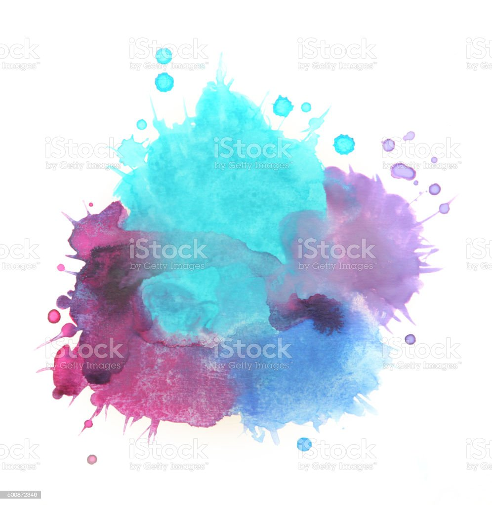 Splashed watercolors, blue and purple paints on white background vector art illustration