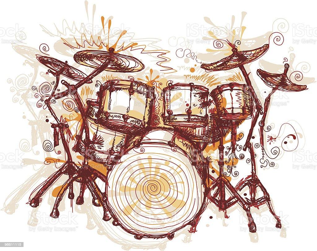 Splashing Drums vector art illustration