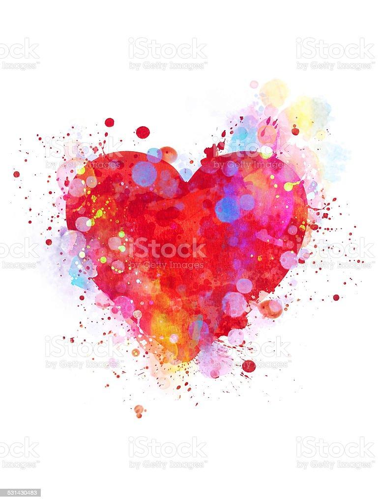 Splattered heart vector art illustration