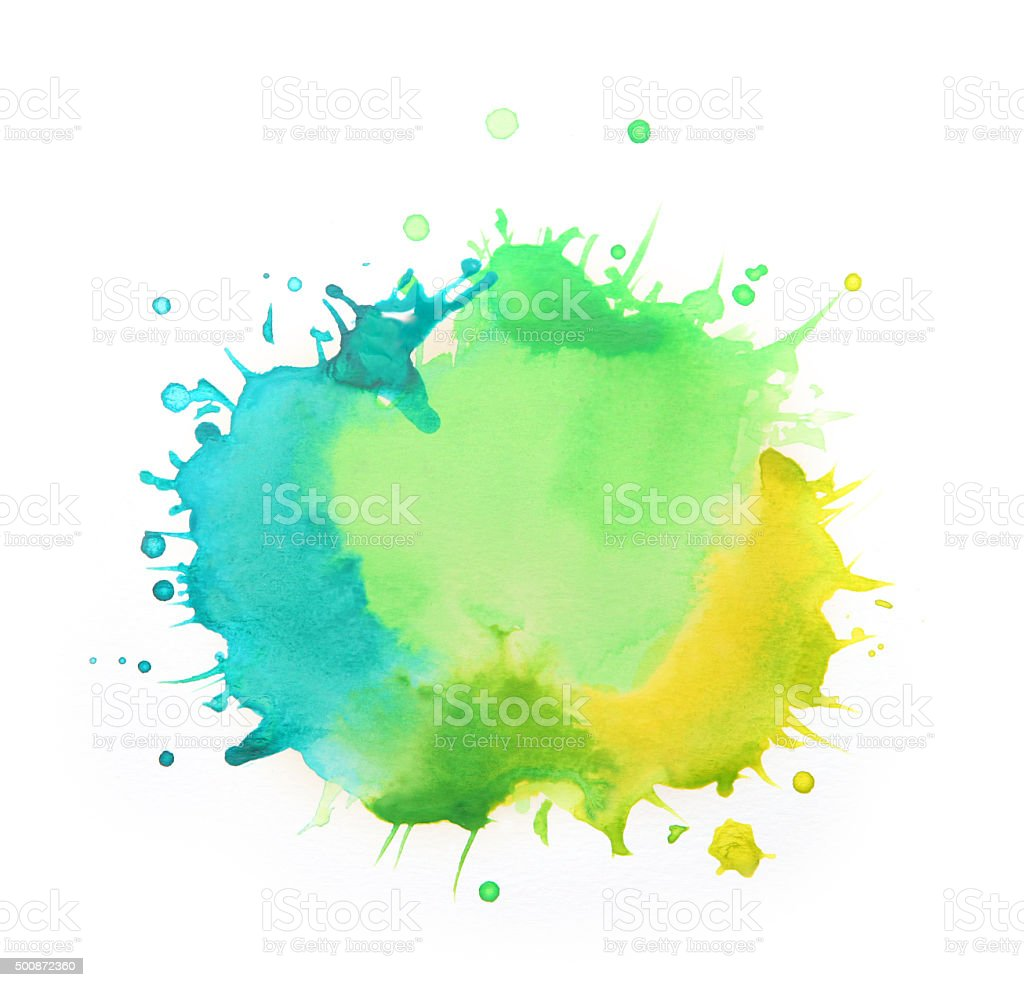 Splattered watercolors, yellow, green and blue paints on white background vector art illustration