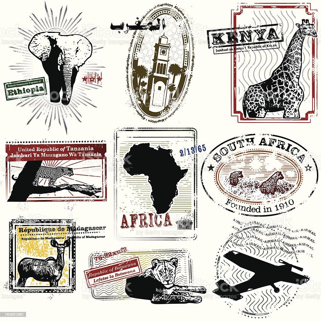 Splendid African Travel Stamps vector art illustration