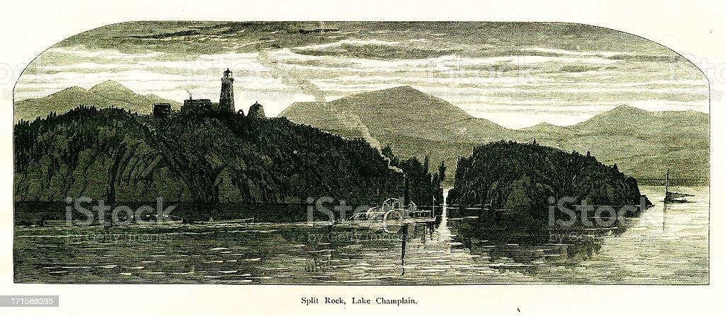 Split Rock, Lake Champlain, New York royalty-free stock vector art