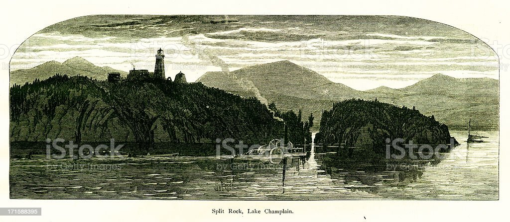 Split Rock, Lake Champlain, New York vector art illustration