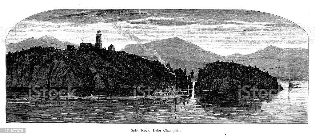 'Split Rock, Lake Champlain, New York' vector art illustration