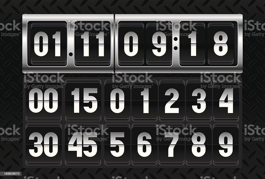split-flap flip Counter calendar clock royalty-free stock vector art