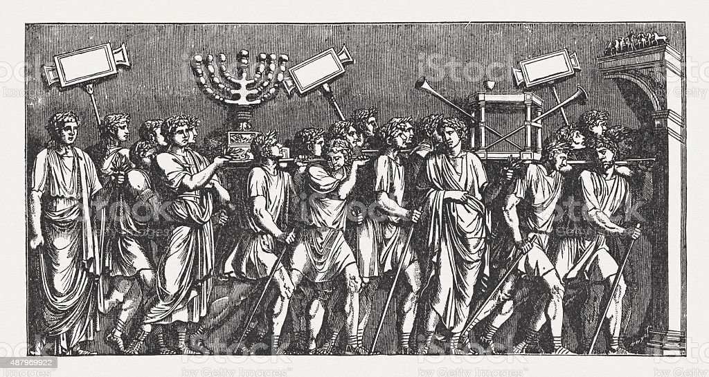 Spoils of Jerusalem (Arch of Titus, Rome), published in 1878 vector art illustration