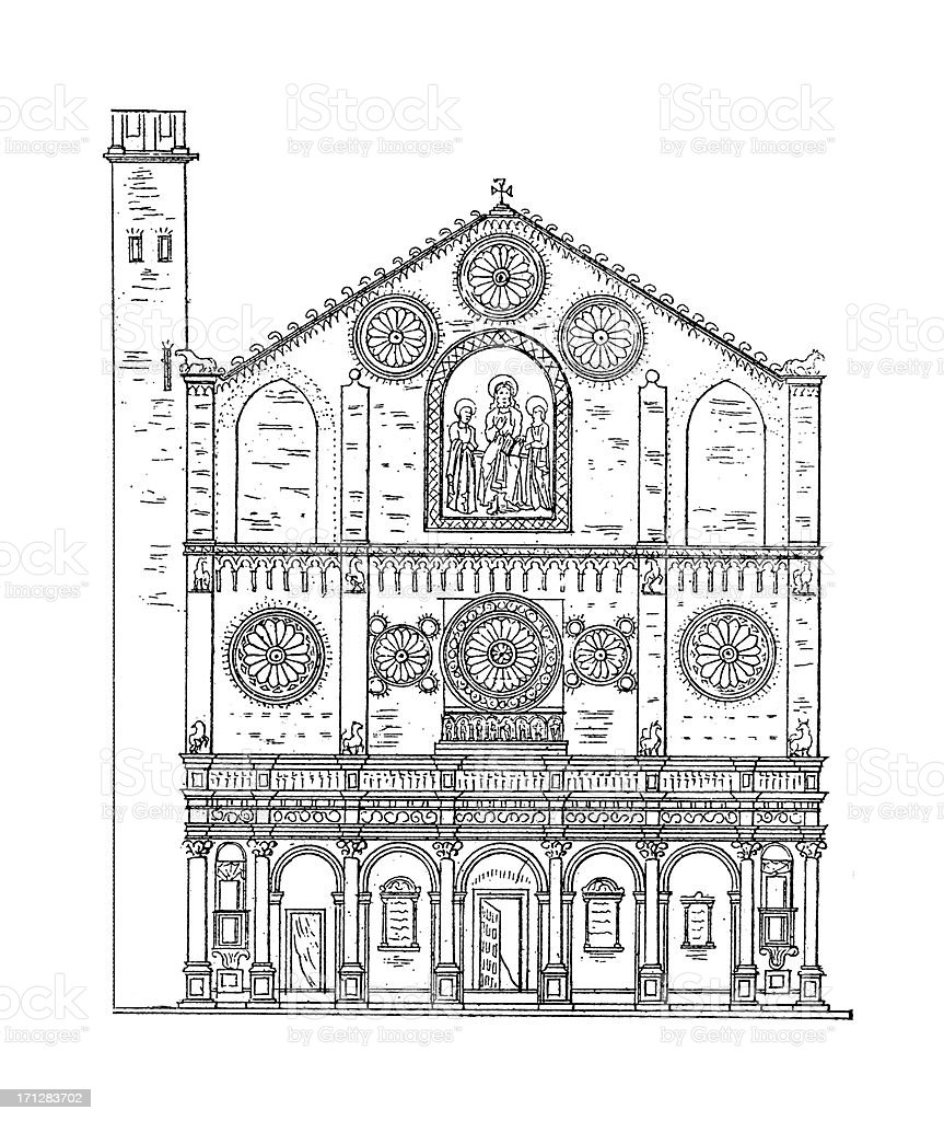 Spoleto Cathedral, Italy | Antique Architectural Illustrations royalty-free stock vector art