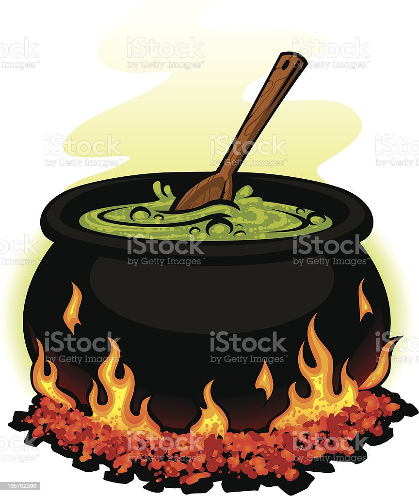 spooky cauldron vector art illustration