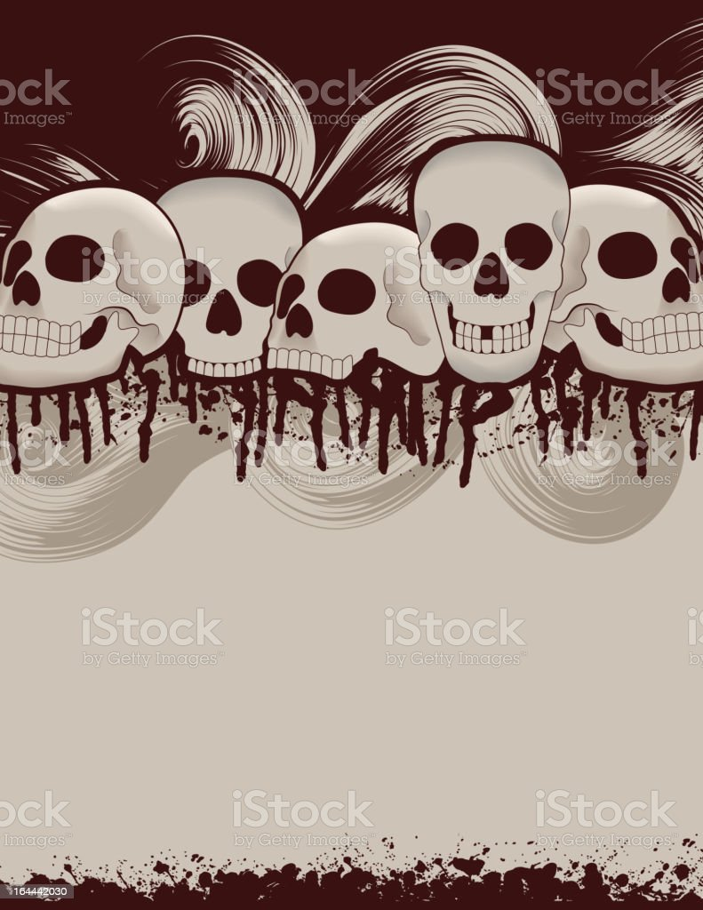 Spooky Halloween skull and dripping blood page background royalty-free stock vector art
