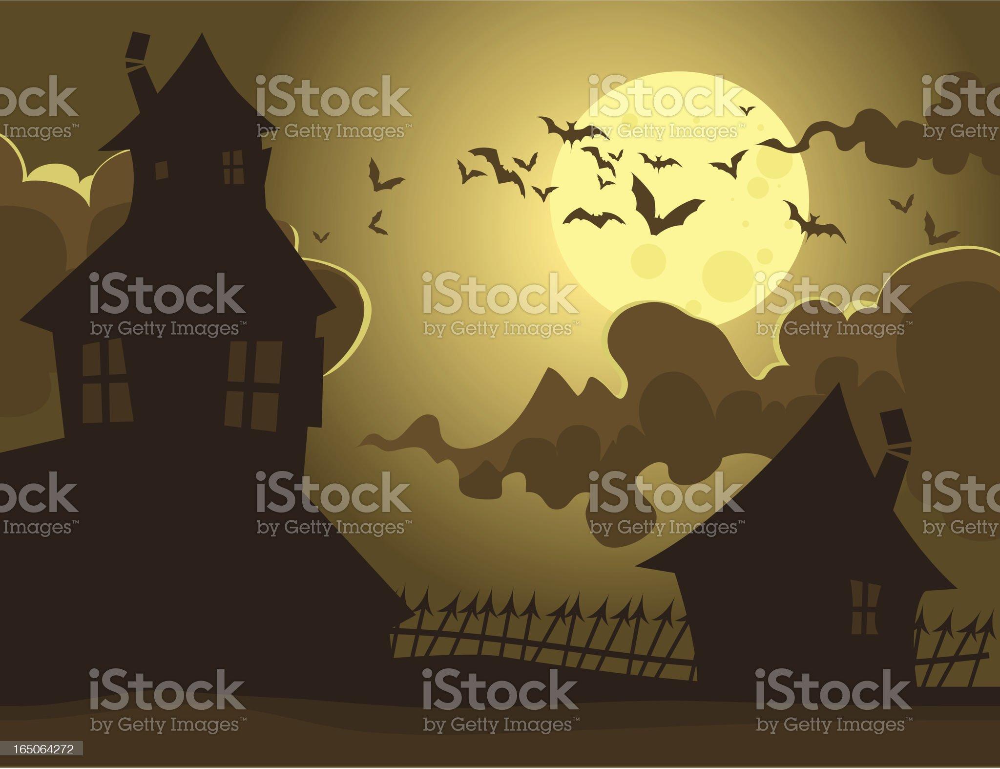 Spooky Sepia houses royalty-free stock vector art