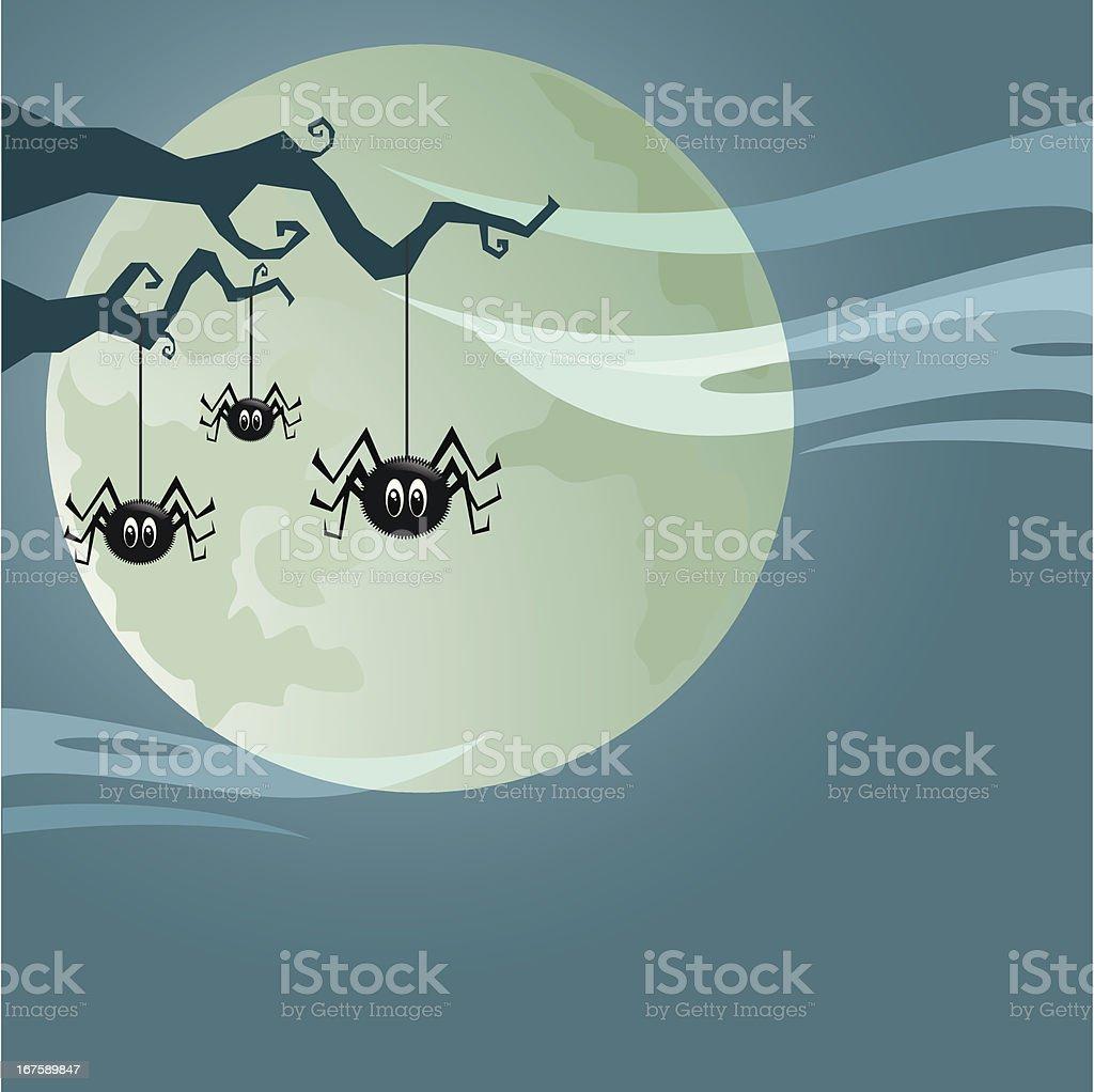 Spooky spiders vector art illustration