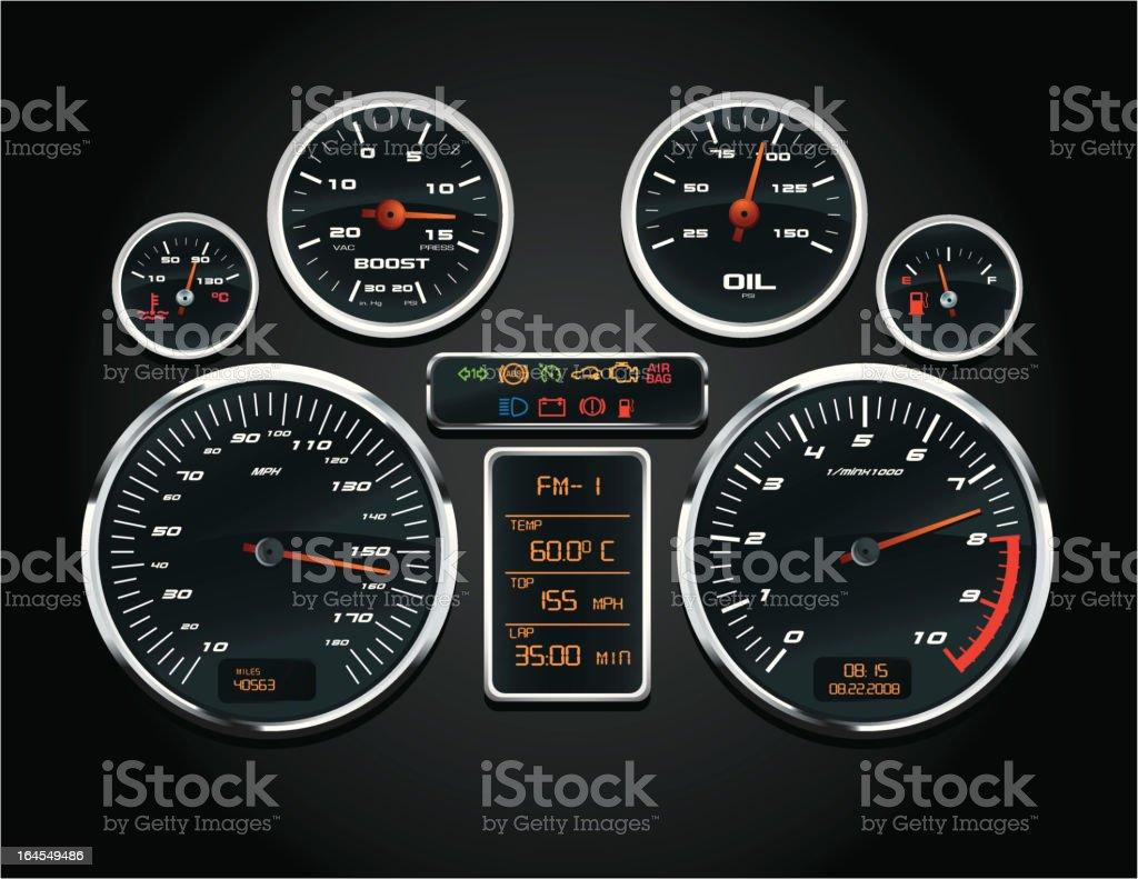 Sport Car Speedometer vector art illustration