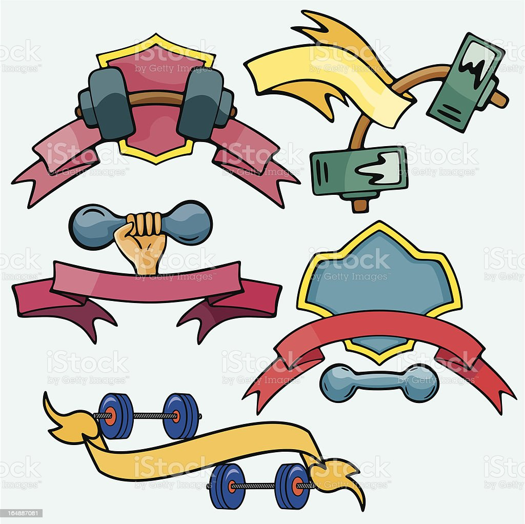Sport Emblems VI: Dumbbells (Vector) royalty-free stock vector art