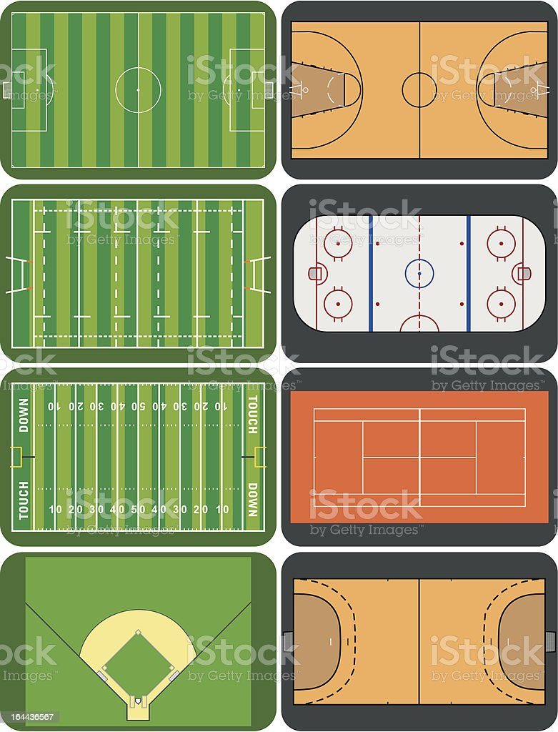 Sport fields and courts vector art illustration