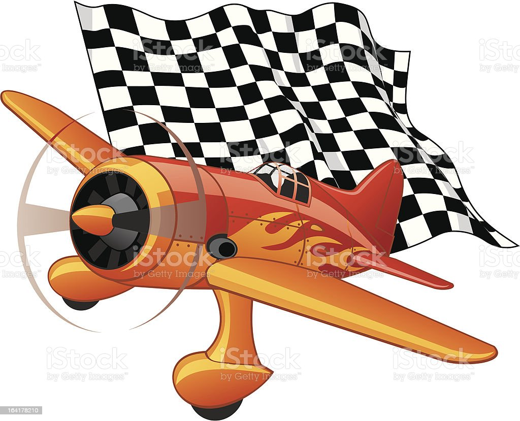 Sport plane with the checkered flag royalty-free stock vector art