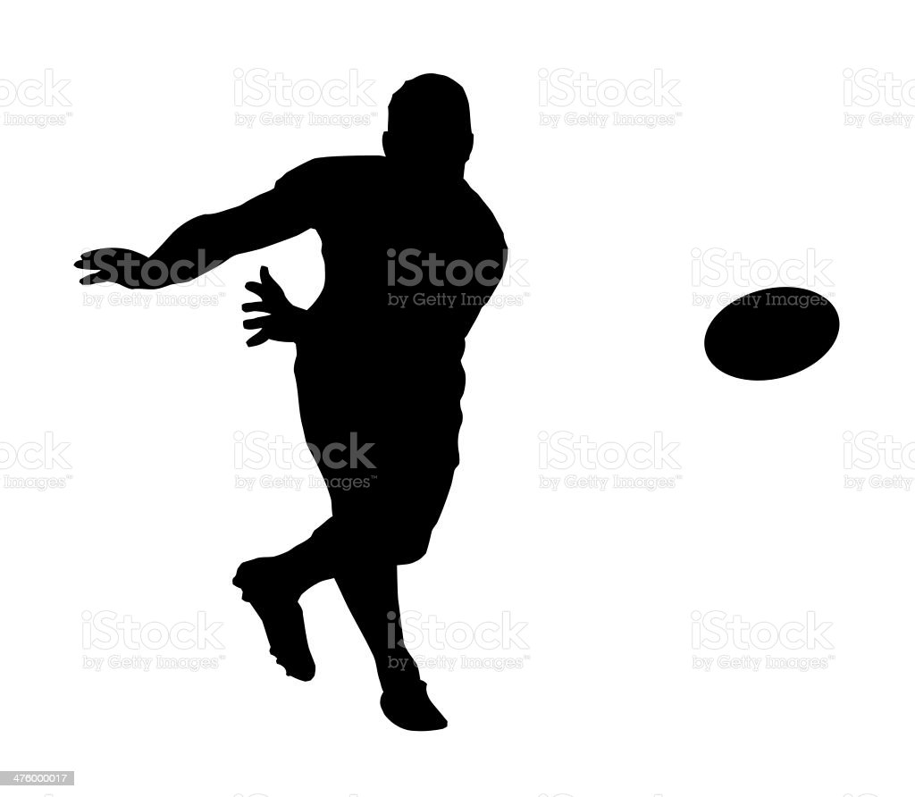 Sport Silhouette - Rugby Football Fast Backline Pass vector art illustration