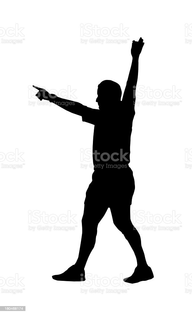 Sport Silhouette - Rugby Football Referee Indicating Foal Play royalty-free stock vector art
