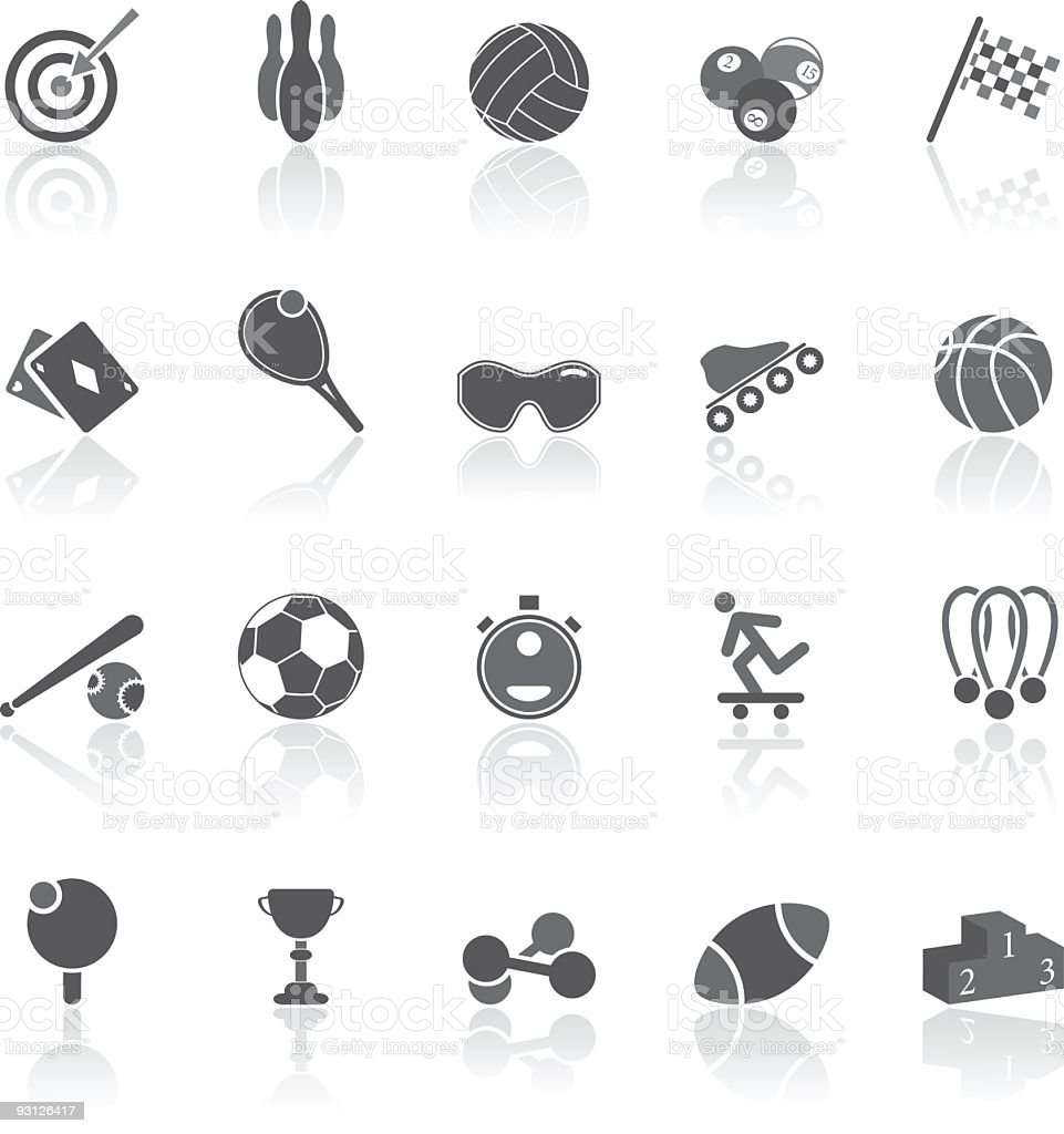Sport - simple icons set vector art illustration
