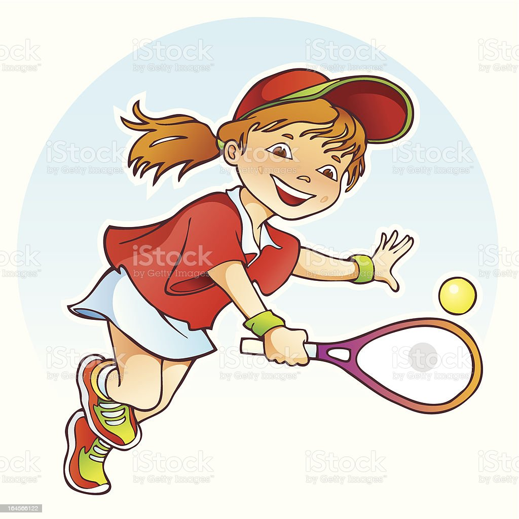 Sportive girl playing tennis vector art illustration