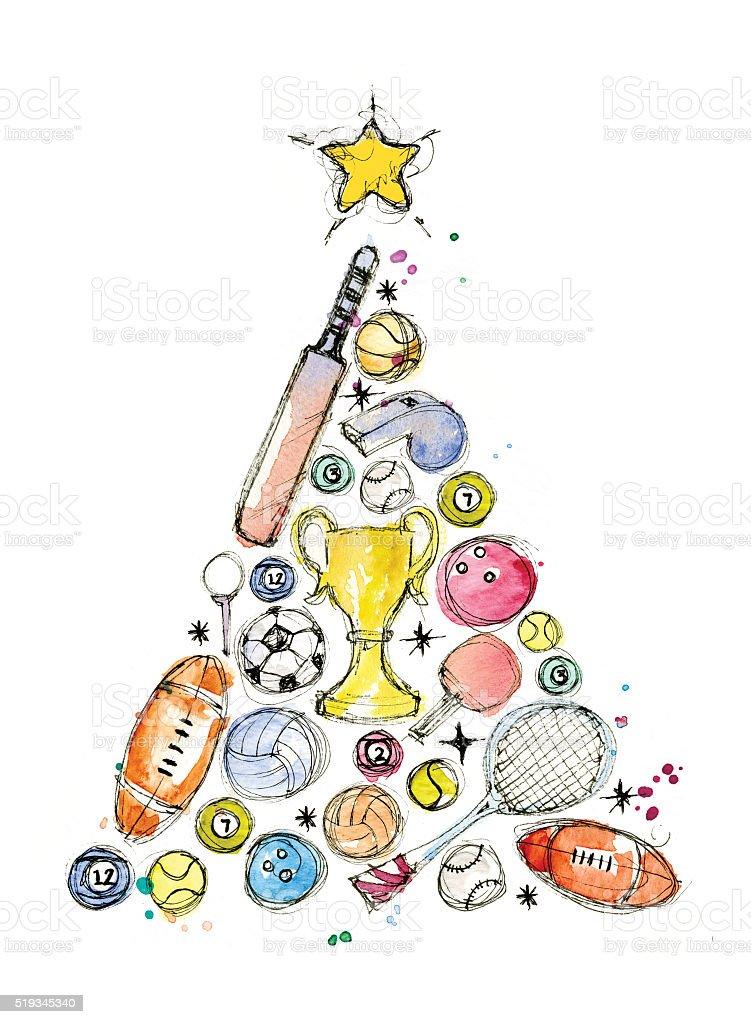 Sports Christmas vector art illustration