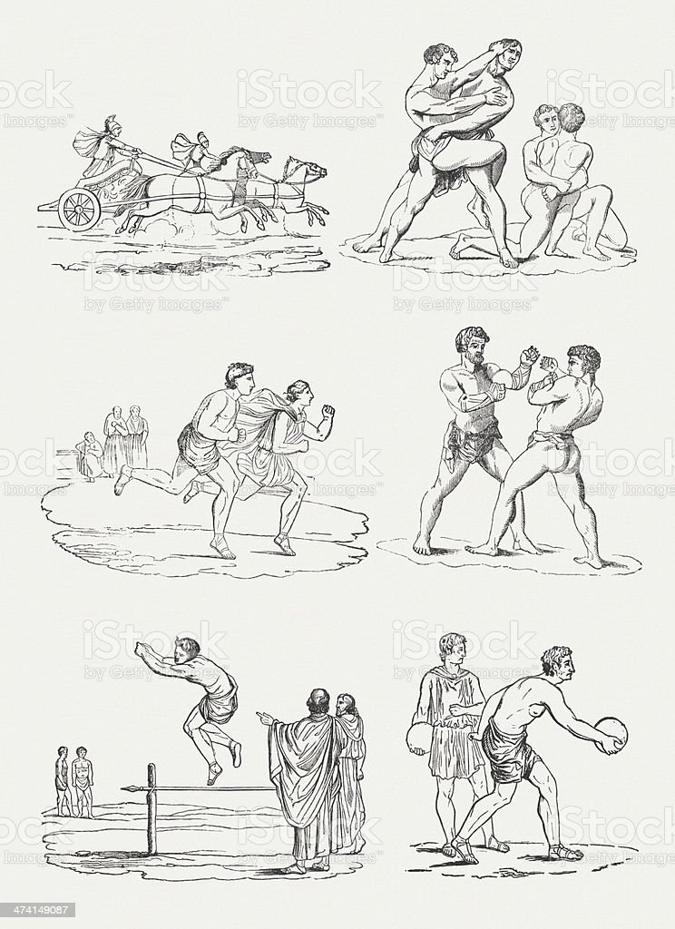 Sports disciplines of the Ancient Olympic Games vector art illustration