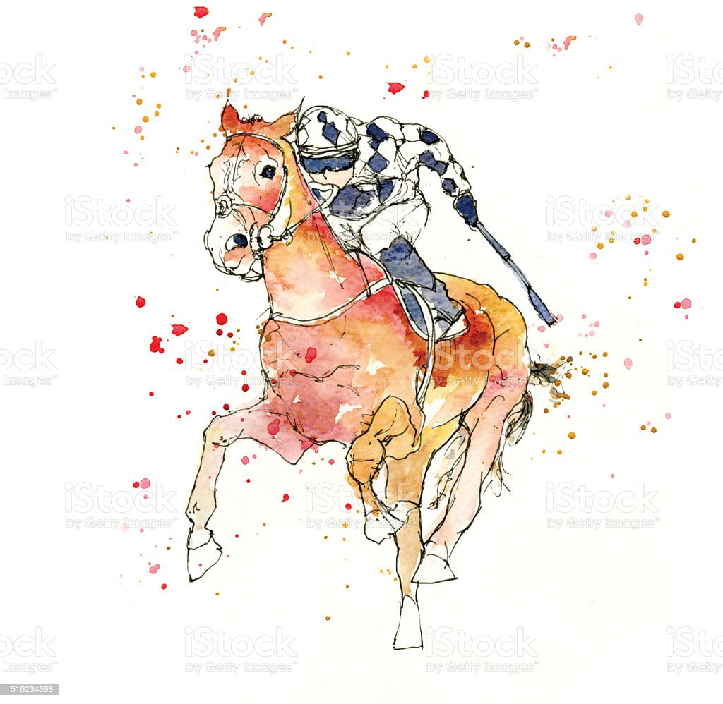 Sports illustration Horse Racing stock photo