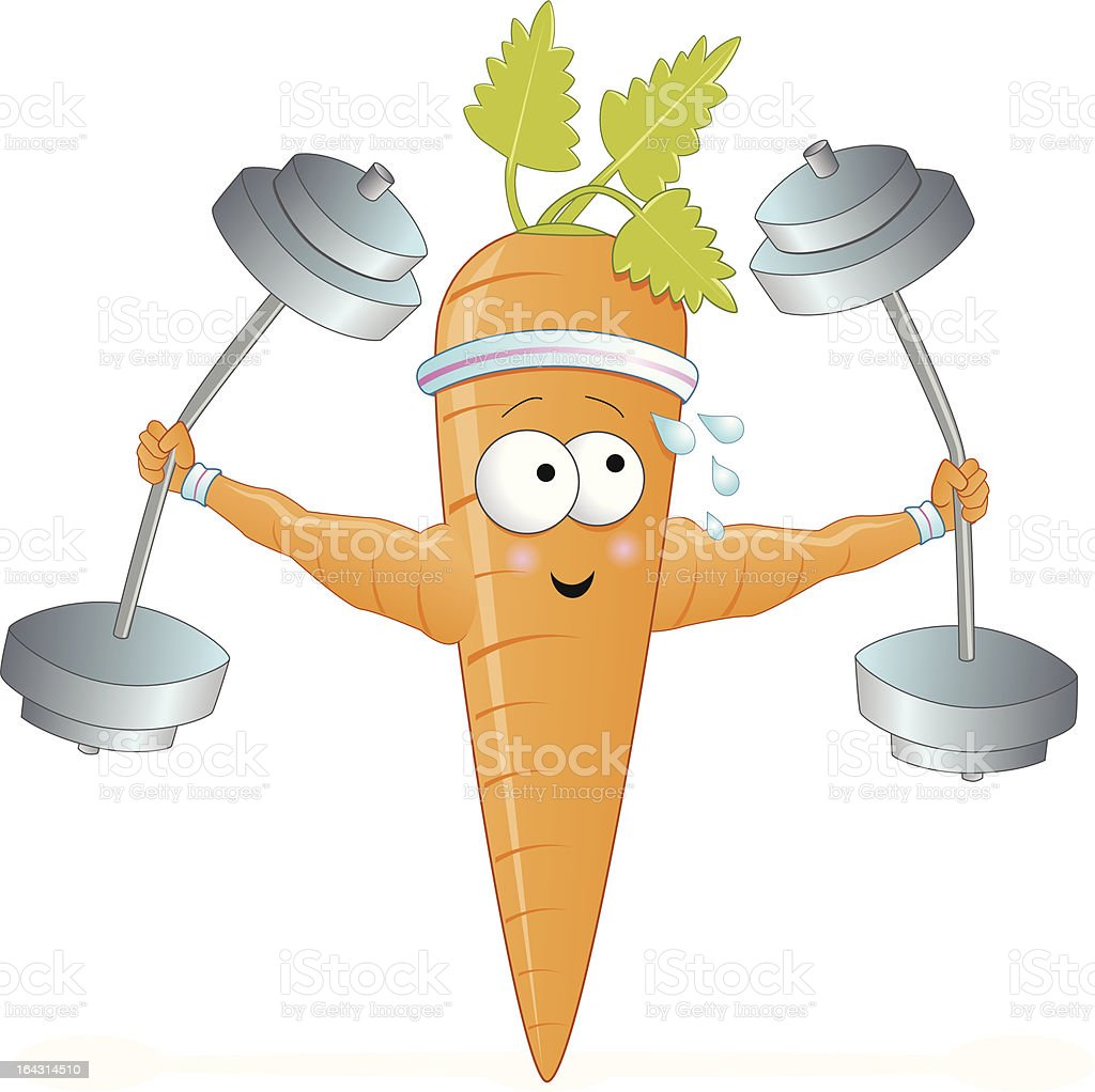 Sporty weight lifting carrot royalty-free stock vector art