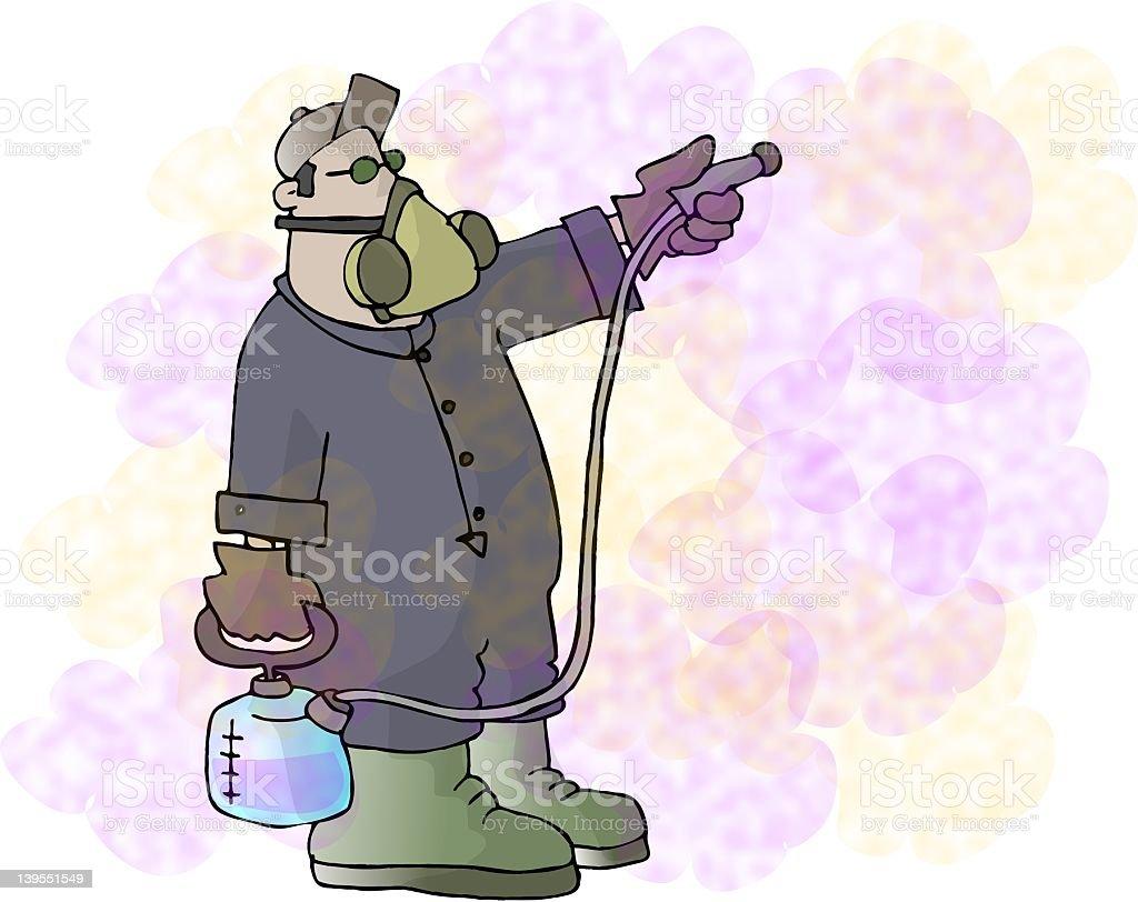 Spraying for bugs vector art illustration