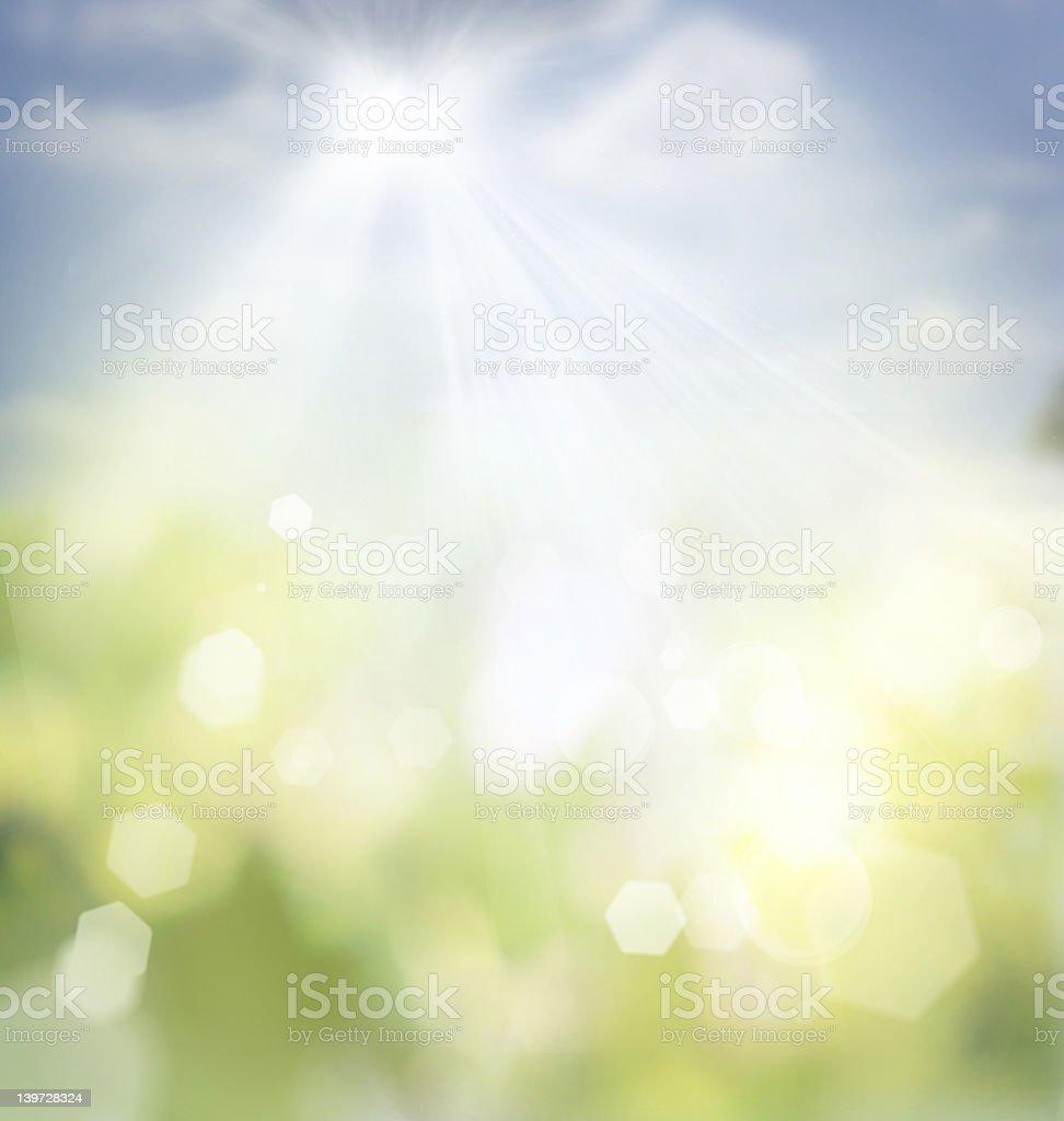 Spring bokeh background vector art illustration