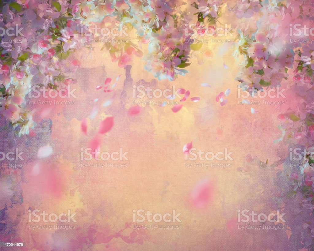 Spring Cherry Blossom Painting vector art illustration