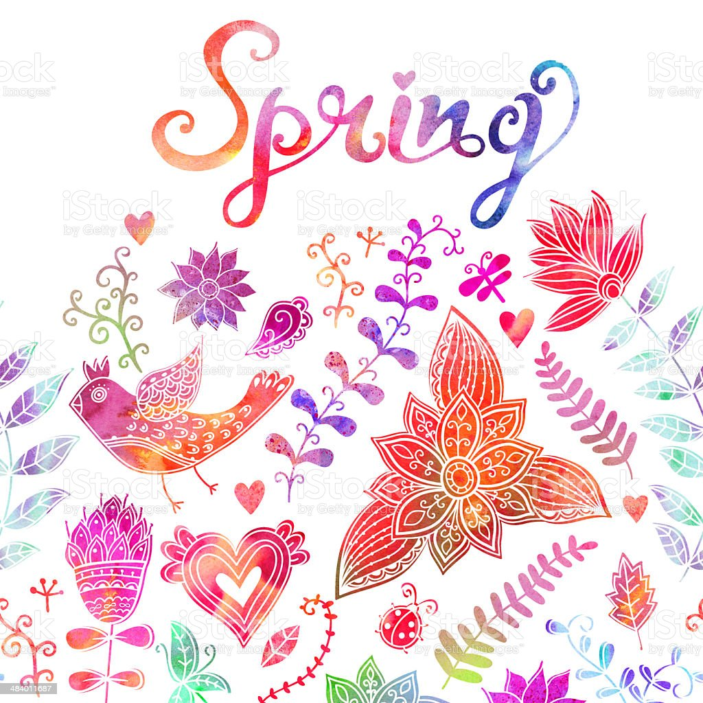 Spring coming card. Floral background royalty-free stock vector art