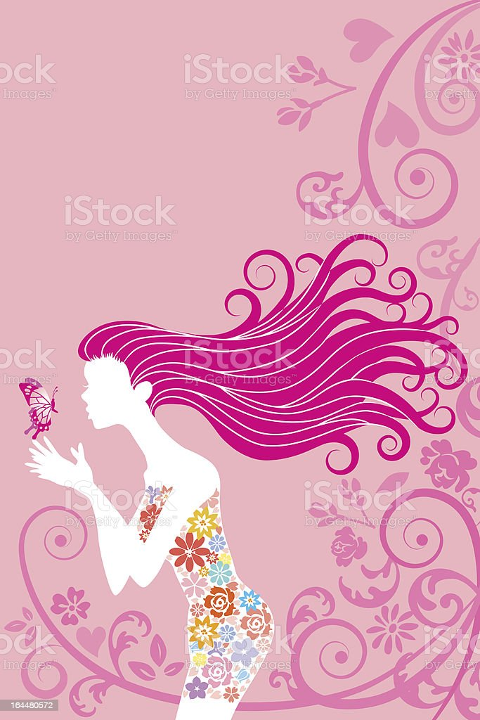 Spring image,woman and butterfly,Vertical royalty-free stock vector art