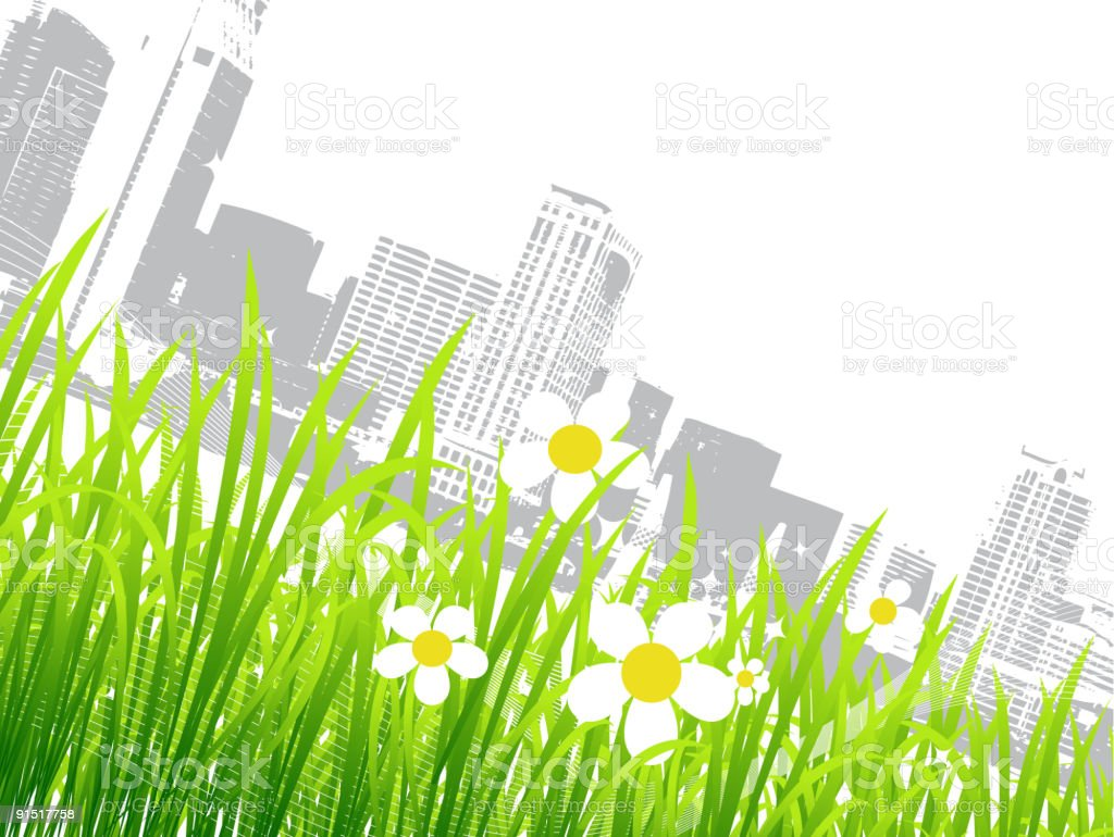 Spring in the city, flowers royalty-free stock vector art