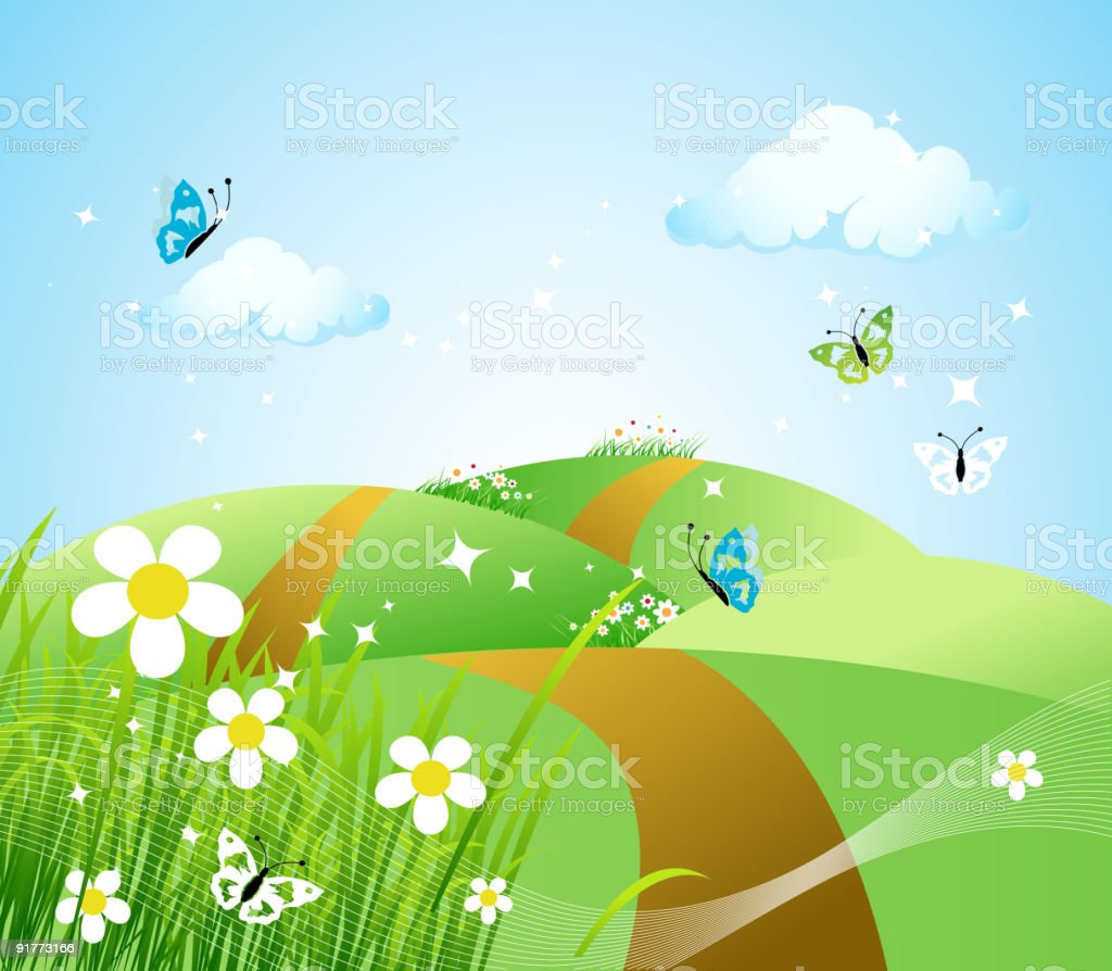Spring meadow beautiful royalty-free stock vector art
