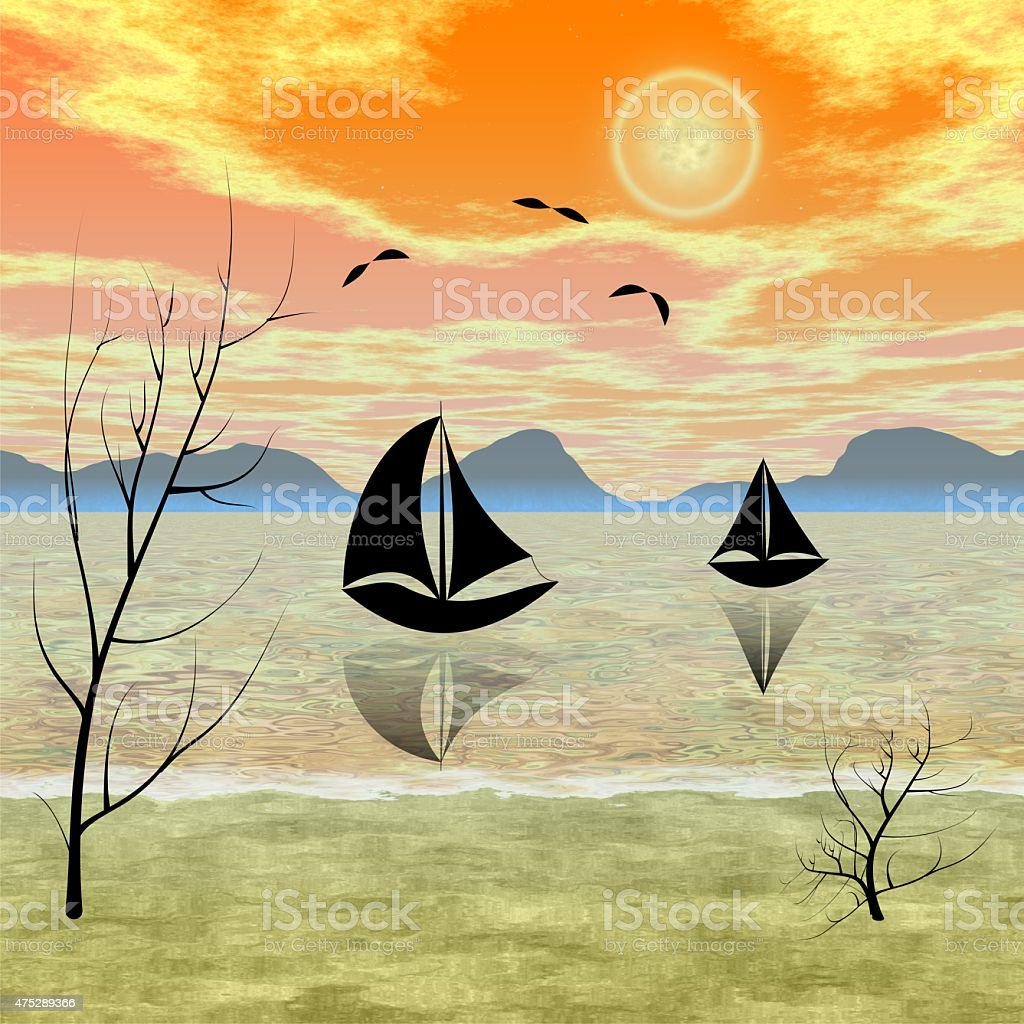 Spring morning fishing on the sea vector art illustration
