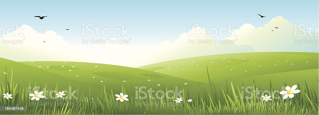 Spring nature landscape vector art illustration