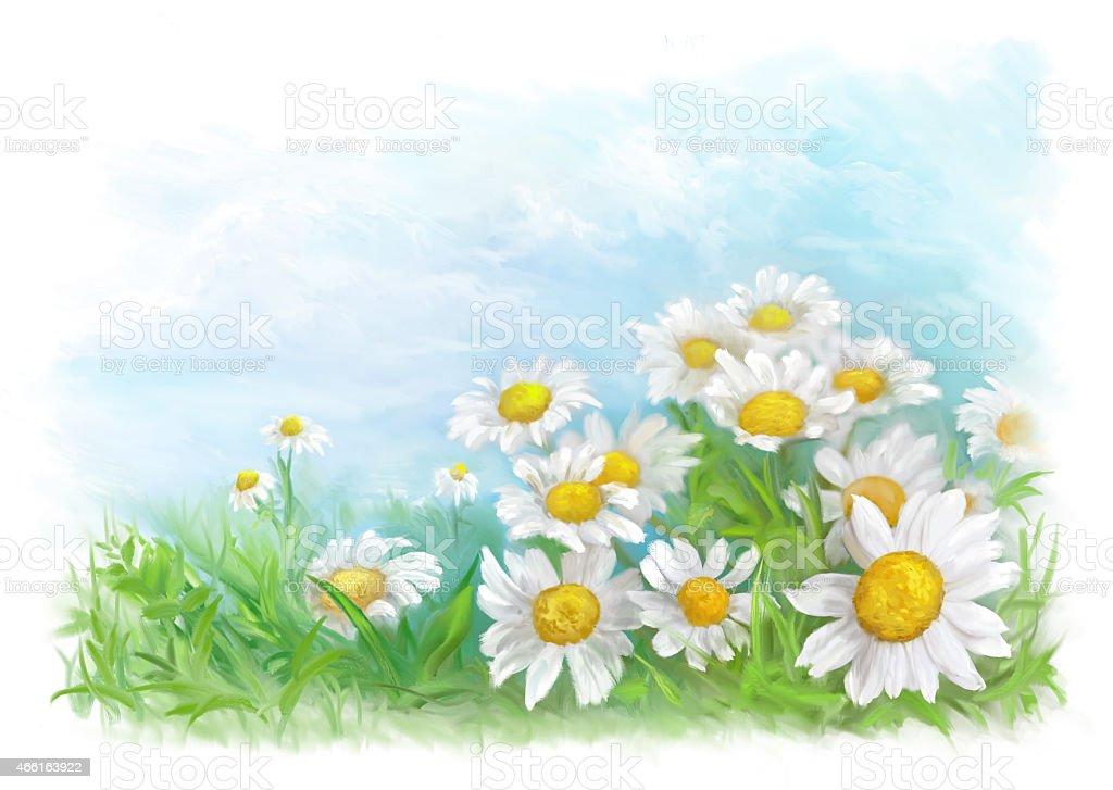 Spring painted card vector art illustration