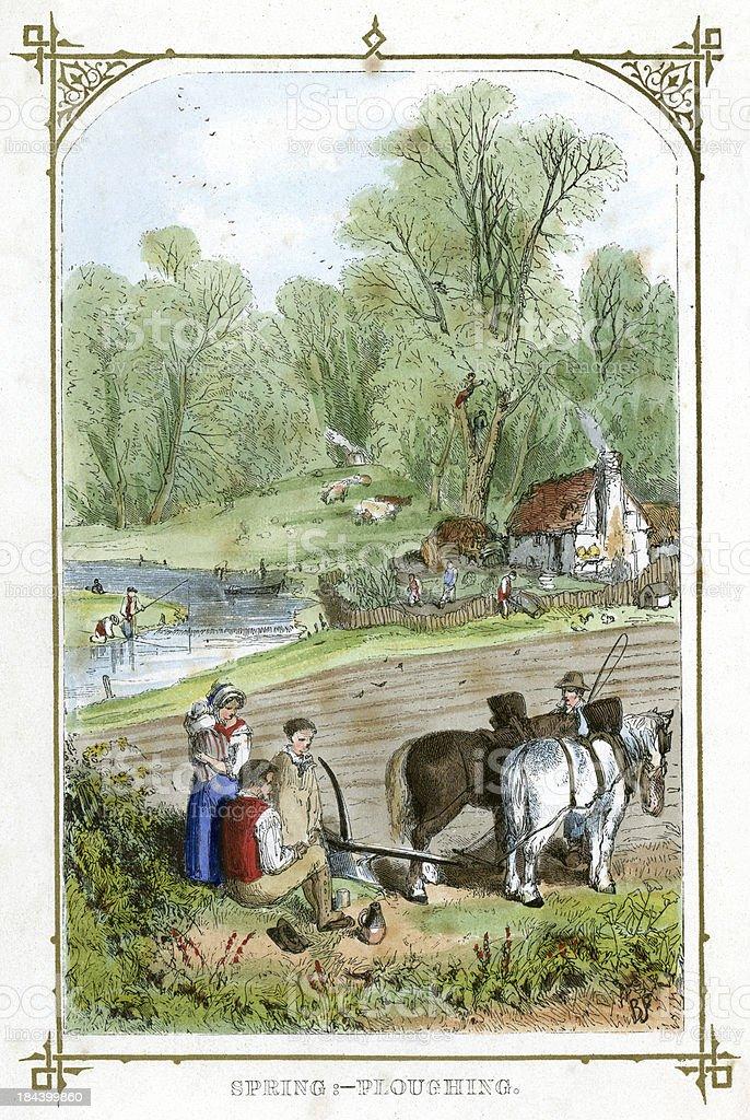 Spring Ploughing vector art illustration