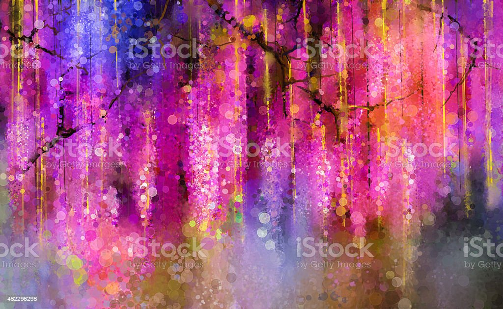 Spring purple flowers Wisteria.Watercolor painting vector art illustration