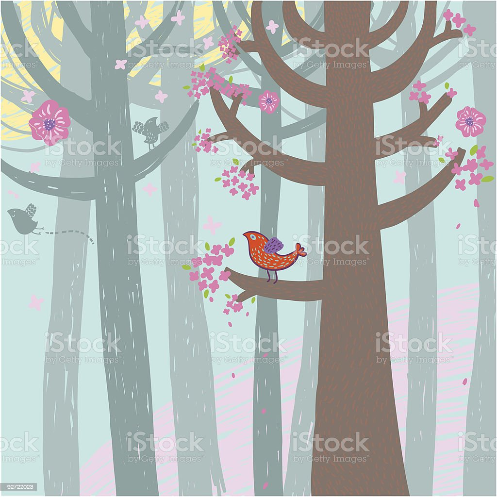 Spring time forest royalty-free stock vector art