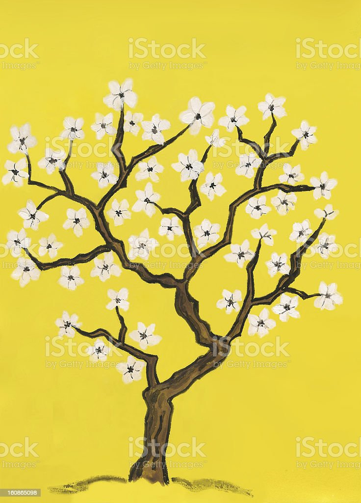 Spring tree in blossom, painting royalty-free stock vector art
